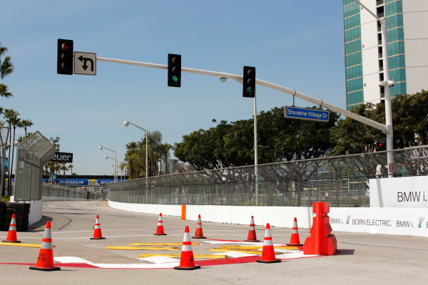 2014/2015 FIA Formula E Championship. Long Beach ePrix, Long Beach, California, United States of America. Friday 3 April 2015 View of the turn one chicane. Photo: Zak Mauger/LAT/Formula E ref: Digital Image _MG_5202