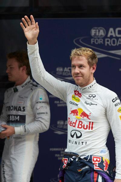 Buddh International Circuit, New Delhi, India. Saturday 26th October 2013. Pole man Sebastian Vettel, Red Bull Racing. World Copyright: Steve Etherington/LAT Photographic. ref: Digital Image SNE20594 copy