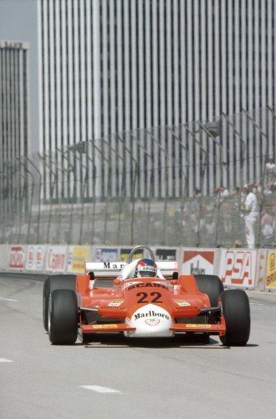 1980 United States Grand Prix West.Long Beach, California, USA. 28-30 March 1980.Patrick Depailler (Alfa Romeo 179B), retired.World Copyright: LAT PhotographicRef: 35mm transparency 80LB06