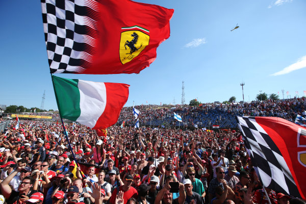 Hungaroring, Budapest, Hungary.  Sunday 30 July 2017. Fans celebrate after the race. World Copyright: Charles Coates}/LAT Images  ref: Digital Image AN7T9808