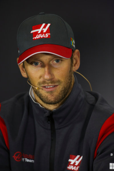 Silverstone, Northamptonshire, UK.  Thursday 13 July 2017. Romain Grosjean, Haas F1, in the Thursday press conference. World Copyright: Charles Coates/LAT Images  ref: Digital Image DJ5R0689