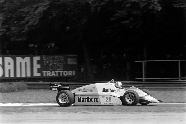 1982 Italian Grand Prix. Monza, Italy. 10-12 September 1982. Andrea de Cesaris (Alfa Romeo 182), 10th position, action. World Copyright: LAT Images Ref: 82_1205_16A