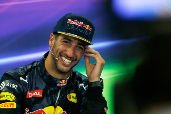 Circuit of the Americas, Austin Texas, USA. Sunday 23 October 2016. Daniel Ricciardo, Red Bull Racing, 3rd Position, in the Press Conference. World Copyright: Sam Bloxham/LAT Photographic ref: Digital Image _SBB2102