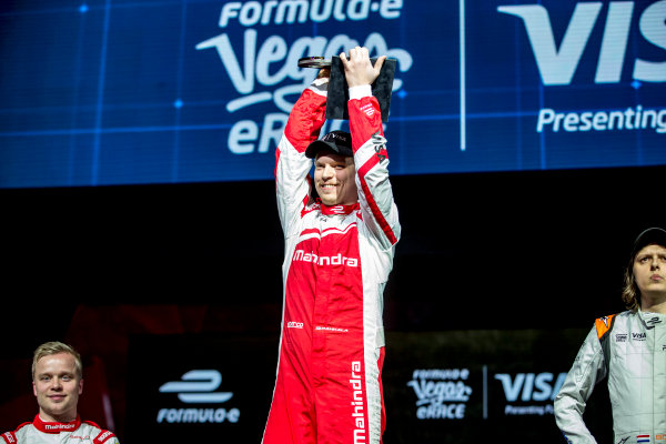 2016/2017 FIA Formula E Championship. Vegas eRace, Las Vegas, Nevada, United States of America. Sunday 8 January 2017. Provisional 1st Place, Olli Pahkala, Mahindra Racing, would lose his win owing to a Fanboost infringement. Photo: Zak Mauger/LAT/Formula E ref: Digital Image _L0U7536