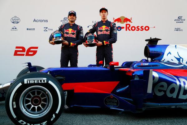 Toro Rosso STR12 Formula 1 Launch. Barcelona, Spain  Sunday 26 February 2017. Carlos Sainz Jr, Toro Rosso. and Daniil Kvyat, Toro Rosso.   World Copyright: Dunbar/LAT Images Ref: _X4I9535