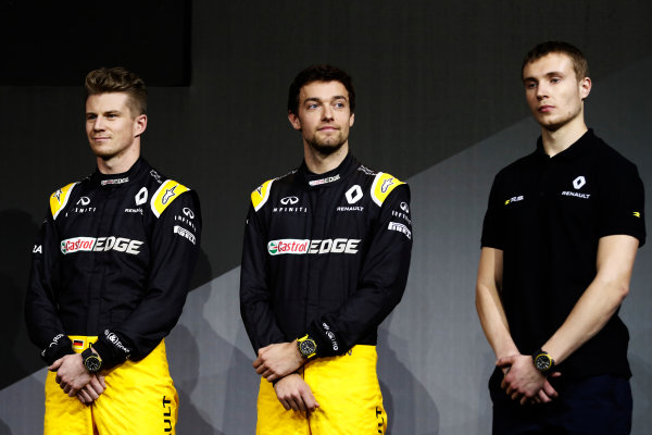 Renault  RS17  Formula 1 Launch. The Lindley Hall, London, UK. Tuesday 21 February 2017. Nico Hulkenberg, Renault Sport F1. Jolyon Palmer, Renault Sport F1. and Sirotkin  World Copyright: Glenn Dunbar/LAT Images Ref: _31I9078