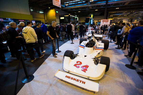 Autosport International Exhibition. National Exhibition Centre, Birmingham, UK. Saturday 14 January 2017. James Hunt's Hesketh F1 car Photo: Sam Bloxham/LAT Photographic ref: Digital Image _SLB4976