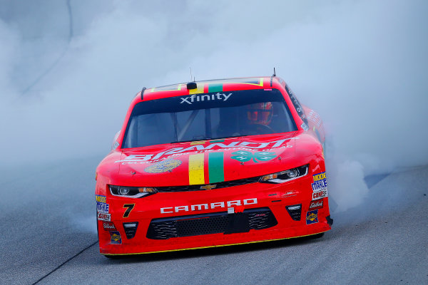 NASCAR XFINITY Series TheHouse.com 300 Chicagoland Speedway, Joliet, IL USA Saturday 16 September 2017 Justin Allgaier, BRANDT / Celebrating the Future of AG Chevrolet Camaro celebrates his win with a burnout  World Copyright: Russell LaBounty LAT Images