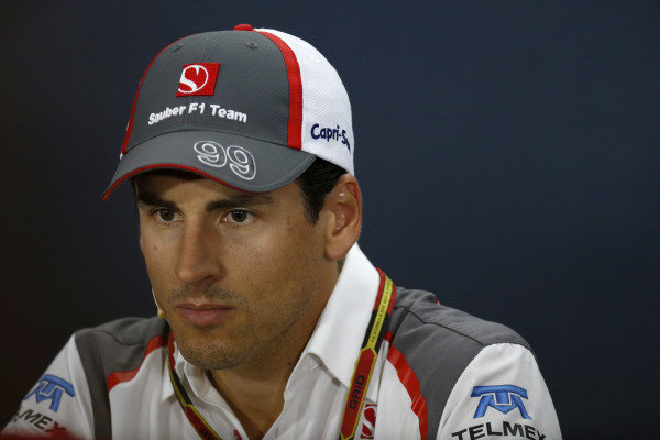 Marina Bay Circuit, Singapore. Thursday 18 September 2014. Adrian Sutil, Sauber, in the Drivers Press Conference. World Copyright: Alastair Staley/LAT Photographic. ref: Digital Image _79P6386