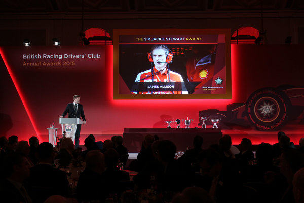 2015 British Racing Drivers Club Awards Grand Connaught Rooms, London Monday 7th December 2015 James Allison (Ferrari) accepts his award on stage. World Copyright: Jakob Ebrey/LAT Photographic ref: Digital Image Allison-02