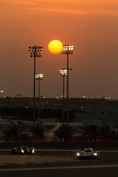 2015 FIA World Endurance Championship Bahrain 6-Hours Bahrain International Circuit, Bahrain Saturday 21 November 2015. Lucas Di Grassi, Lo?c Duval, Oliver Jarvis (#8 LMP1 Audi Sport Team Joest Audi R18 e-tron quattro) leads Simon Trummer, Pierre Kaffer (#4 LMP1 ByKolles Racing CLM P1/01 AER). World Copyright: Sam Bloxham/LAT Photographic ref: Digital Image _SBL5263