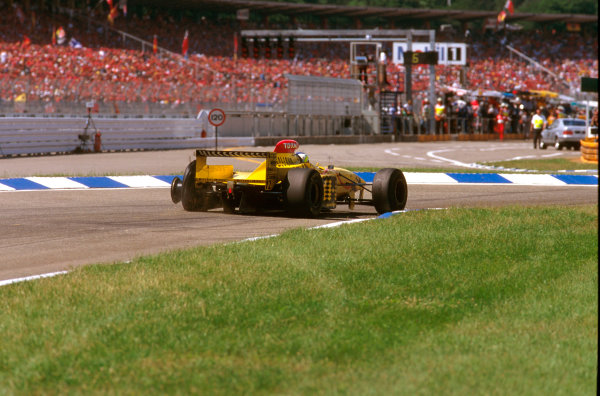 Hockenheim, Germany.25-27 July 1997.Giancarlo Fisichella (Jordan 197 Peugeot) gets a puncture, but he goes out later due to an oil cooler on lap 40.Ref-97 GER 03.World Copyright - LAT Photographic