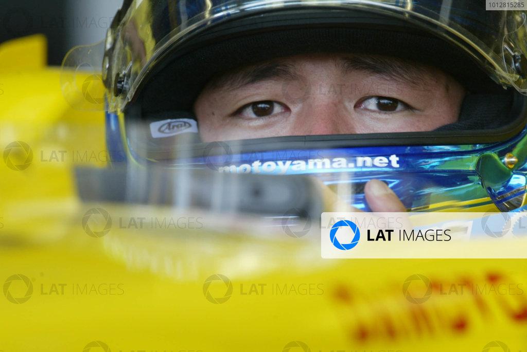 2003 Japanese Grand Prix - Friday Qualifying,Suzuka, Japan.10th October 2003.Motoyama, Jordan's new test driver, portrait.World Copyright LAT Photographic.Digital Image Only.