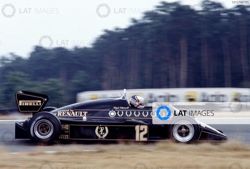 1983 German Grand Prix.Hockenheim, Germany.5-7 August 1983.Nigel Mansell (Lotus 94T Renault).Ref-83 GER 14.World Copyright - LAT Photographic