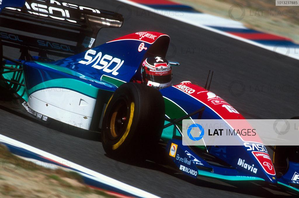 Tanaka International, Aida, Japan.15-17 April 1994.Aguri Suzuki (Jordan 194 Hart). He exited the race with a steering breakage.Ref-94 PAC 11.World Copyright - LAT Photographic