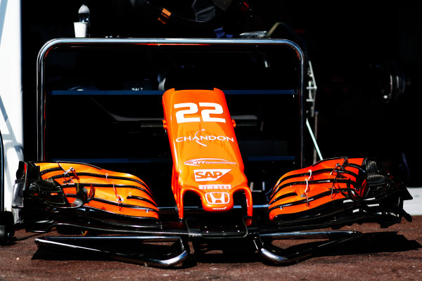 Monte Carlo, Monaco. Wednesday 24 May 2017. Jenson Buttons front wing on display in the Pitlane World Copyright: Sam Bloxham/LAT Images ref: Digital Image _W6I9818
