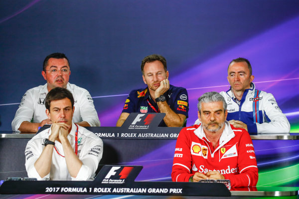 Albert Park, Melbourne, Australia. Friday 24 March 2017. Eric Boullier, Racing Director, McLaren, Toto Wolff, Executive Director (Business), Mercedes AMG, Christian Horner, Team Principal, Red Bull Racing, Paddy Lowe, Williams Martini Racing Formula 1, and Maurizio Arrivabene, Team Principal, Ferrari, in the Team Principals Press Conference. World Copyright: Sam Bloxham/LAT Images ref: Digital Image _J6I1853