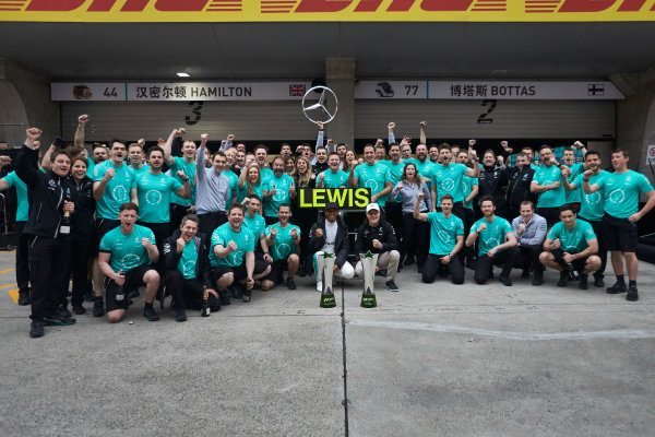 Shanghai International Circuit, Shanghai, China.  Sunday 9 April 2017. Lewis Hamilton, Mercedes AMG, 1st Position, Valtteri Bottas, Mercedes AMG, and the Mercedes team celebrate victory. World Copyright: Steve Etherington/LAT Images ref: Digital Image SNE19073