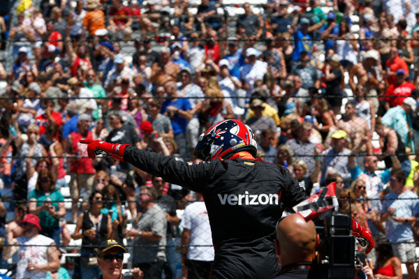 Verizon IndyCar Series Indianapolis 500 Carb Day Indianapolis Motor Speedway, Indianapolis, IN USA Friday 26 May 2017 Will Power, Team Penske Chevrolet celebrates winning the Pit Stop Competition World Copyright: Phillip Abbott LAT Images ref: Digital Image abbott_indy_0517_26911