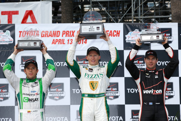 11-13 April, 2014, Long Beach, California, USA Carlos Munoz, Mike Conway and Will Power in victory lane © 2014, Michael L. Levitt LAT Photo USA