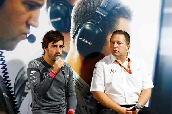 Circuit of the Americas, Austin, Texas, United States of America. Thursday 19 October 2017. Fernando Alonso, McLaren, and Zak Brown, Executive Director, McLaren Technology Group, host a press conference. World Copyright: Steven Tee/LAT Images  ref: Digital Image _O3I1436