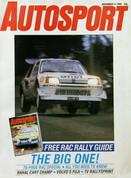 Cover of Autosport magazine, 13th November 1986