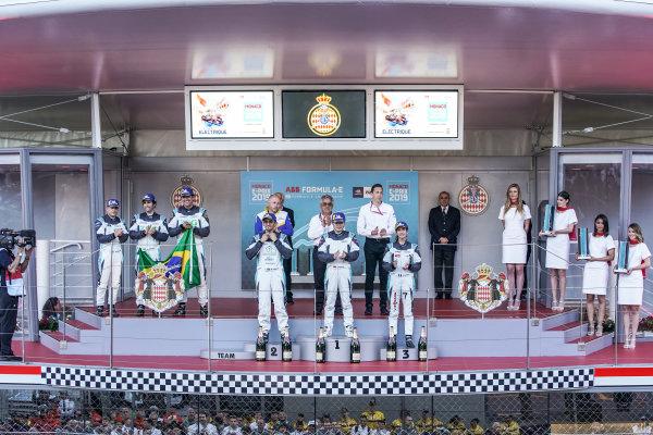 PRO AM podium: Winner Yaqi Zhang (CHI), Team China, Bandar Alesayi (SAU), Saudi Racing, 2nd position, and Célia Martin (FRA), Viessman Jaguar eTROPHY Team Germany, 3rd position