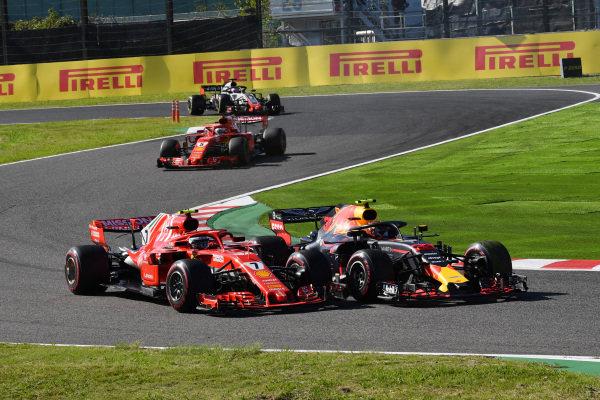 Kimi Raikkonen, Ferrari SF71H a Max Verstappen, bitka RedBull Racing RB14