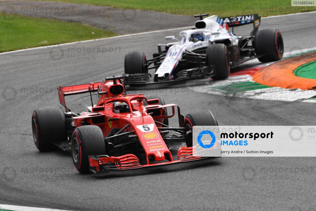 Sebastian Vettel, Ferrari SF71H and Lance Stroll, Williams FW41