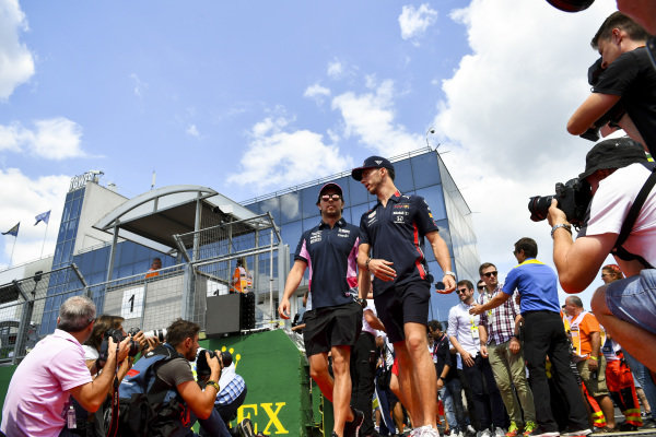 Sergio Perez, Racing Point, and Pierre Gasly, Red Bull Racing, in the drivers parade