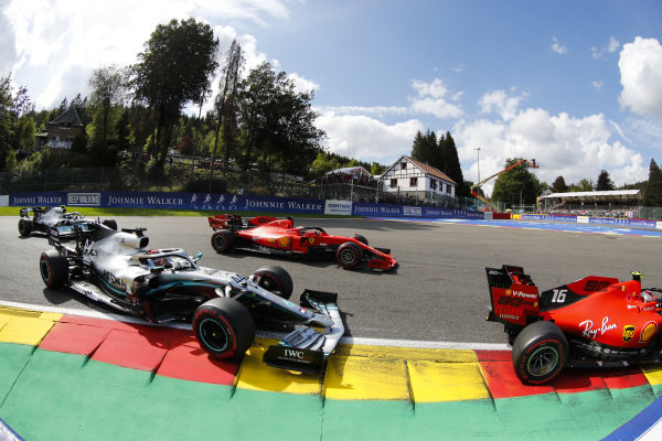 Charles Leclerc, Ferrari SF90, leads Sebastian Vettel, Ferrari SF90, Lewis Hamilton, Mercedes AMG F1 W10 and Valtteri Bottas, Mercedes AMG W10