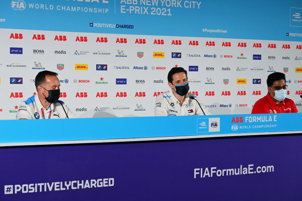 Roger Griffiths, Team Principal, BMW i Andretti Motorsport, Ian James, Team Principal, Mercedes-Benz EQ, and Dilbagh Gill, CEO and Team Principal, Mahindra Racing, in the press conference