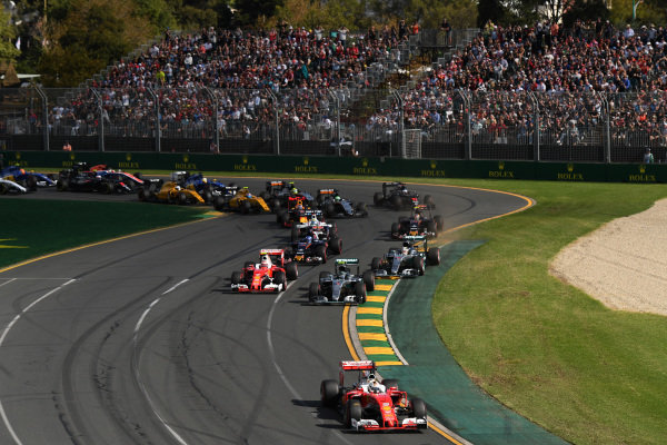 Sebastian Vettel (GER) Ferrari SF16-H leads at the start of the race at Formula One World Championship, Rd1, Australian Grand Prix, Race, Albert Park, Melbourne, Australia, Sunday 20 March 2016.