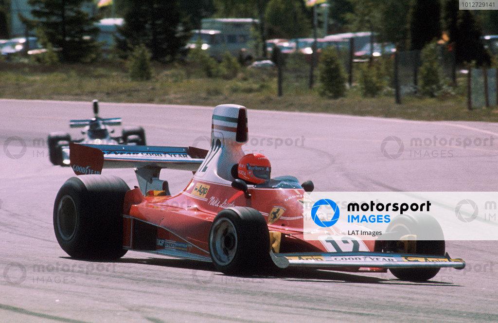 1975 Swedish Grand Prix.Anderstorp, Sweden.6-8 June 1975.Niki Lauda (Ferrari 312T) 1st position.Ref-75 SWE 04.World Copyright - LAT Photographic