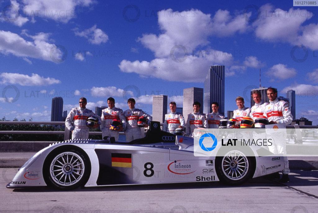 2000 Audi R8 Launch.Miami Beach, Florida, USA.Audi introduces the new R8 race car and drivers for the Le Mans 24 Hours and the ALMS series in Miami Beach, Florida. Drivers from L-R: Michele Alboreto, Christian Abt, Rinaldo Capello, Allan McNish, Stephane Ortelli, Laurent Aiello, Tom Kristensen, Frank Biela, Emanuele Pirro.World Copyright - Richard Dole/LAT