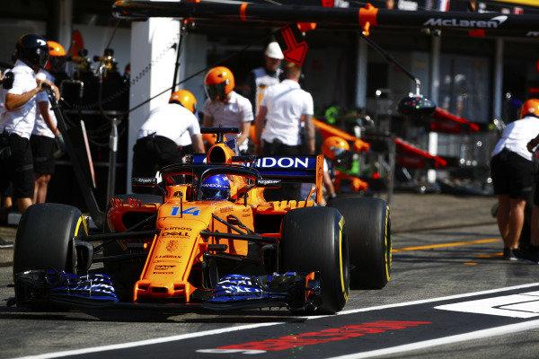 Fernando Alonso, McLaren MCL33 Renault, exits his pit area.