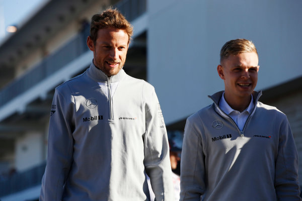 Circuit of the Americas, Austin, Texas, United States of America. Friday 31 October 2014. Jenson Button, McLaren, with Kevin Magnussen, McLaren. World Copyright: Charles Coates/LAT Photographic. ref: Digital Image _J5R6683