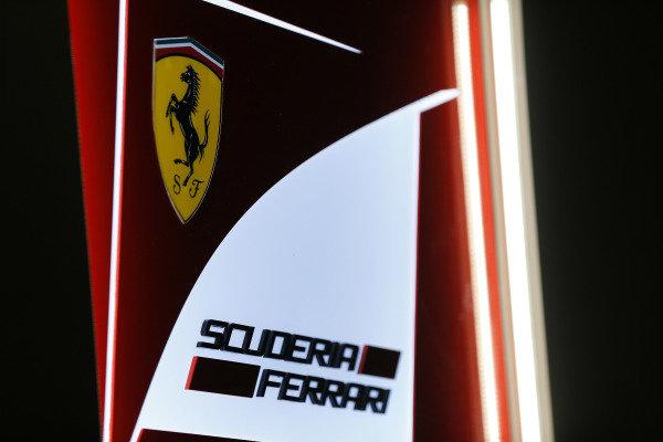 Albert Park, Melbourne, Australia. Friday 13 March 2015. Scuderia Ferrari logo. World Copyright: Alastair Staley/LAT Photographic. ref: Digital Image _R6T0133