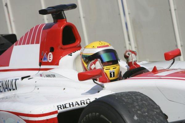 2006 GP2 Series Round 6. Silverstone, England. 11th June 2006. Sunday race. Lewis Hamilton (GBR, ART Grand Prix) race winner. Action. World Copyright: Andrew Ferraro/GP2 Series Media Service. Ref: Digital Image Only.YY8P4334 jpg