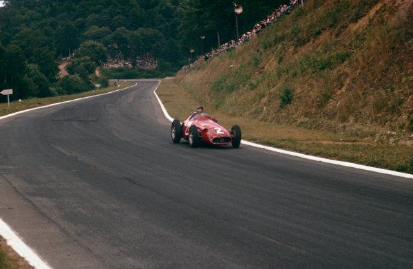 Rouen-Les-Essarts, France. 5-7 July 1957. Juan Manuel Fangio (Maserati 250F) 1st position.  Ref-57 FRA 23. World Copyright - LAT Photographic