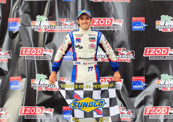 23-24 March, 2012, St Petersburg, Florida USATristan Vautier holds up the Sunoco Winner's flag on the podium.(c)2012, Phillip AbbottLAT Photo USA
