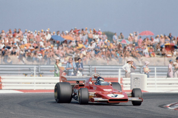 1973 French Grand Prix.  Paul Ricard, Le Castellet, France. 29th June - 1st July 1973.  Jacky Ickx, Ferrari 312B3, sideways on his way to 5th position.  Ref: 73FRA26. World Copyright: LAT Photographic