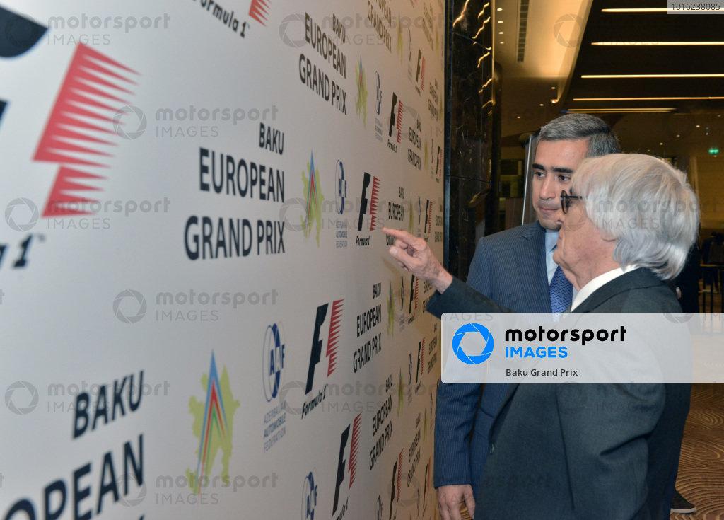 Bernie Ecclestone (GBR) CEO Formula One Group (FOM) and Anar Alakbarov (AZ) Executive Director of the Heydar Aliyev Foundation and President of Azerbaijan Automobile Foundation.Baku European Grand Prix Street Circuit Press Event, Baku, Azerbaijan, 7 October 2014.