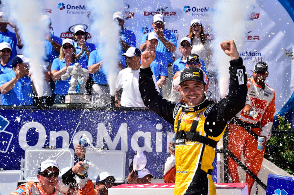 NASCAR XFINITY Series One Main Financial 200 Dover International Speedway, Dover, DE USA Saturday 3 June 2017 Kyle Larson, ParkerStore Chevrolet Camaro celebrates his win in Victory Lane World Copyright: Nigel Kinrade LAT Images ref: Digital Image _JH37140