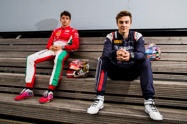 2017 FIA Formula 2 Round 6. Silverstone, Northamptonshire, UK. Thursday 13 July 2017. Charles Leclerc (MCO, PREMA Racing) and Artem Markelov (RUS, RUSSIAN TIME).  Photo: Zak Mauger/FIA Formula 2. ref: Digital Image _56I6257