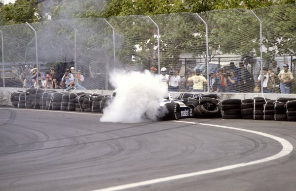 1982 Detroit Grand Prix.Detroit, United States. 6 June 1982.Riccardo Patrese, Brabham BT49D-Ford, retired, crashes out, action.World Copyright: LAT PhotographicRef: 35mm transparency 82USA18