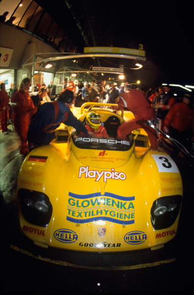 Le Mans, France. 17th - 18th June 1995. Jurgen Lassig/Franz Konrad/Antonio Hermann (Kremer-Porsche Spyder), retired, action.World Copyright: LAT Photographic.Ref:  95LM11.