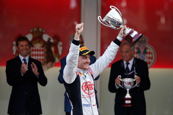 2013 GP2 Series. Round 4.  Monte Carlo, Monaco. 54th May 2013. Saturday Race. Stefano Coletti (MON, Rapax) celebrates his victory on the podium.  World Copyright: Glenn Dunbar/GP2 Series Media Service. Ref: _89P2813
