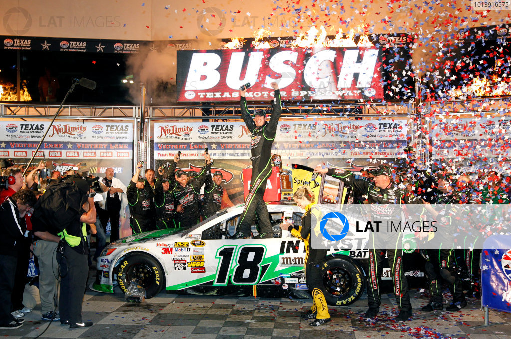11-13 April, 2013, Fort Worth, Texas USA Kyle Busch celebrates his victory ©2013, Nigel Kinrade LAT Photo USA