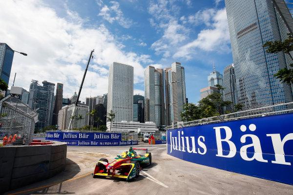FIA Formula E Hong Kong e-Prix. Second Practice Session. Lucas Di Grassi (BRA), ABT Schaeffler Audi Sport, Spark-Abt Sportsline, ABT Schaeffler FE02.  Hong Kong Harbour, Hong Kong, Asia. Sunday 9 October 2016. Photo: Adam Warner / FE / LAT ref: Digital Image _L5R7853